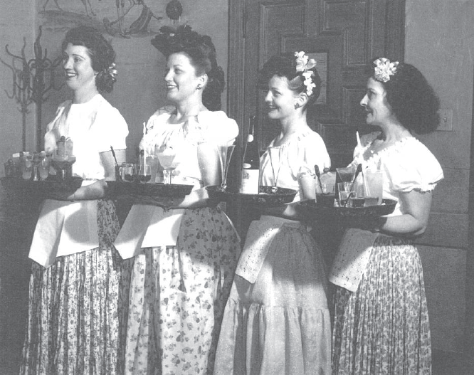 Servers at the original Hilton
